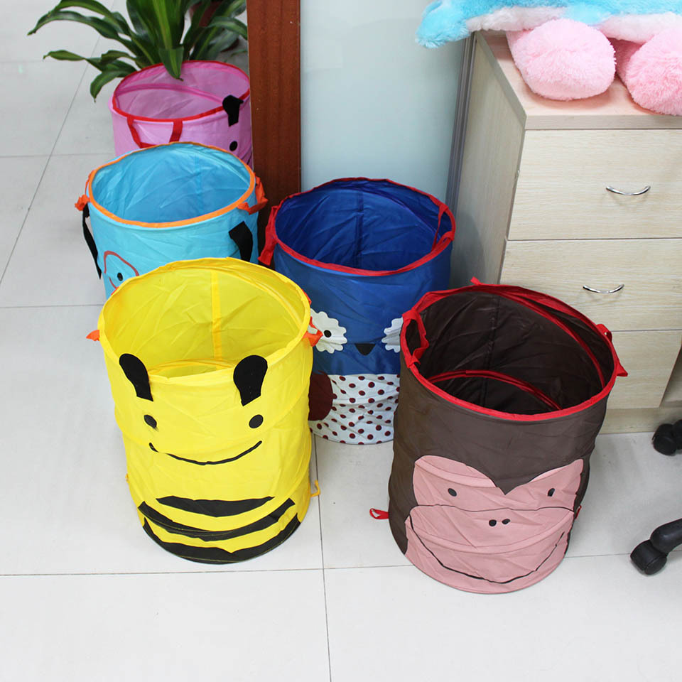 Big Size 35*45CM(D*H) Non-Woven Fabric Material Kids Toys Folding Bucket Organizer Boxes For Laundry Baby Accessories(China (Mainland))