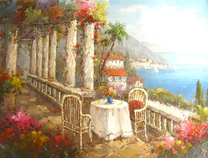 Free shipping high quality Handmade Mediterranean landscape oil painting(China (Mainland))