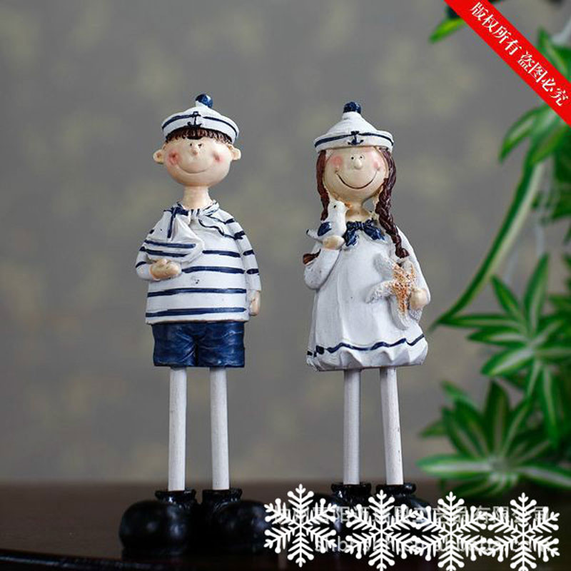 Free shipping Couple Doll Mediterranean style <font><b>Home</b></font> gifts Navy Doll 6cm * 4.2 cm * 18 cm