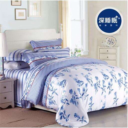 100% natural silk luxury Blue and white flower plant cool soft 4pcs home hotel bedclothes bedlinen duvet cover bedsheet set/3569(China (Mainland))
