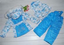 623 Children Winter Clothing Set girls Ski Suit Windproof Down Coat Flower Warm Coats Fur Jackets