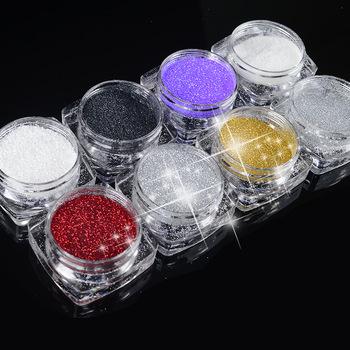 Hot selling 2g/Box 8 colors Holographic Nail Glitter Powder Shining Sugar Nail Glitter Dust Powder Nail Art Decorations Set
