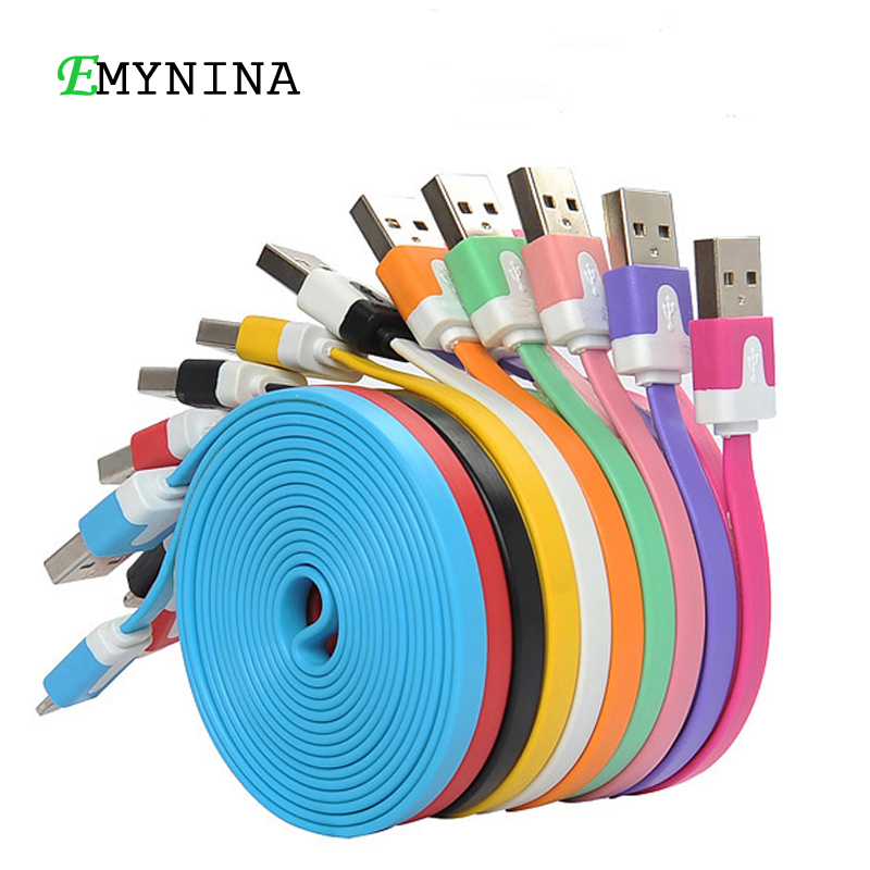 1M 2M 3M Micro USB Cable Flat Noodle Lightning USB Data Sync Charging Cords for Apple iPhone 7 Samsung S7 Android Accessories(China (Mainland))