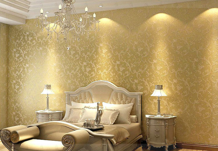 Netherland victorian non woven bedroom textured glitter for Gold wallpaper for walls