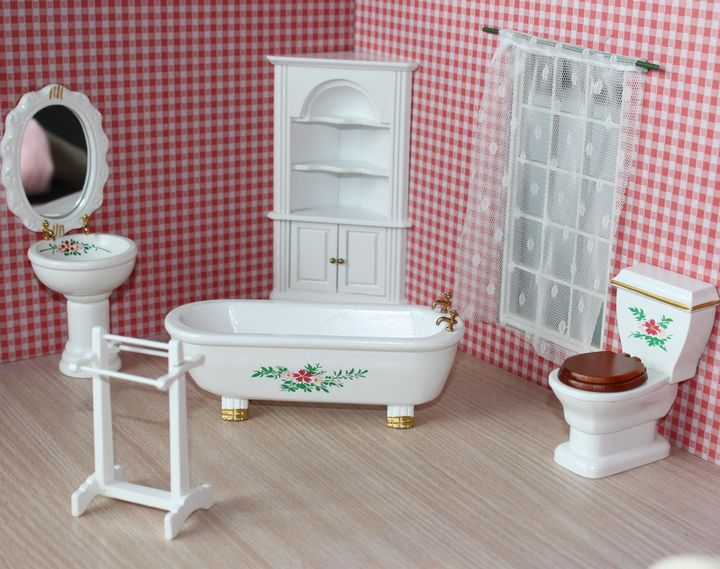 1 12 Scale Mini Dollhouse Furniture Classic Gilt Bathroom Sets Discount Sale Toilet Bathtub