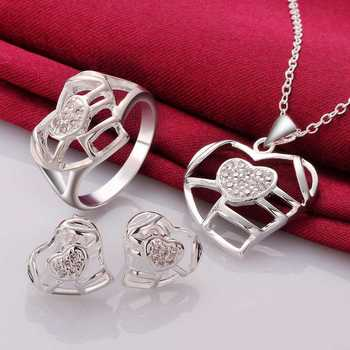 Christmas Gift!!Wholesale 925 Silver Jewelry Sets,Sterling Silver Jewelry,heart hollow heart R+E+N SMTS739