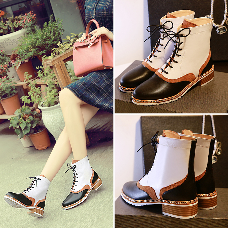 Calzado Zapatos Mujer Vintage Low Heel Ankle  Lace Up Boots  Gladiator Chain Leather &amp; Suede Motorcycle Boots Shoes Woman<br><br>Aliexpress