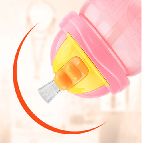 Hot 240ml Cute Baby Kid Cup Handle Children Learn Drinking Water Straw Bottle Sippy Training Cup