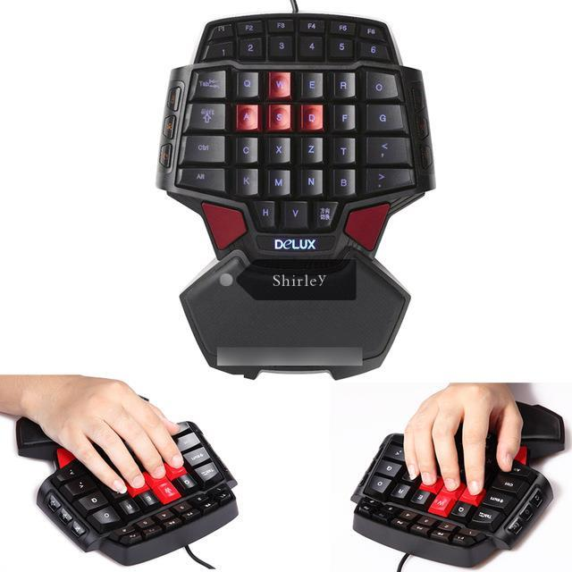 Delux T9 Professional Gaming Keyboard LED Backlight Double Space Key Bar CF / CS USB Wired Mini Portable Game Key Board(China (Mainland))
