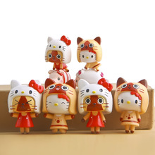 Japan Anime Hello Kitty Toy HelloKitty Cos Monster Hunter PVC Action Figure Keychain Toy Doll Model Collection