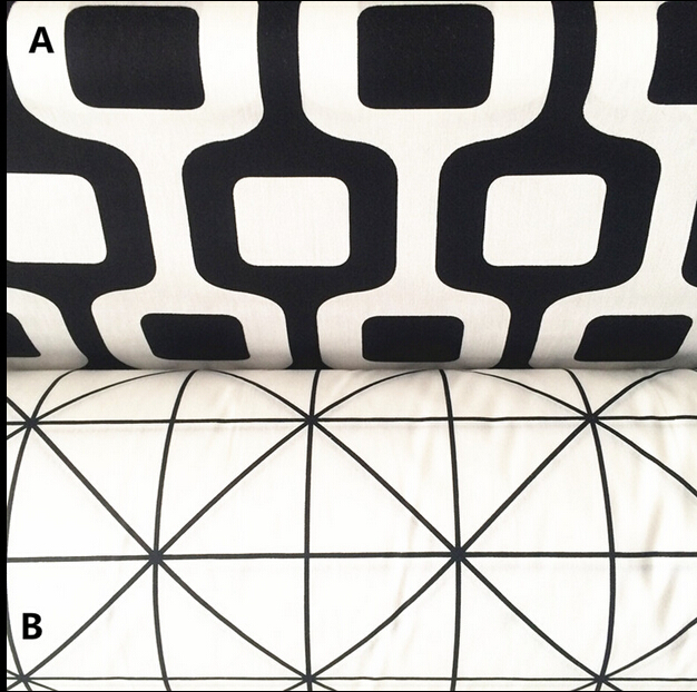 Geometric figure Black and White Plaid Cotton cloth printed cloth baby children bedding package cotton fabric 50x150cm/piece(China (Mainland))