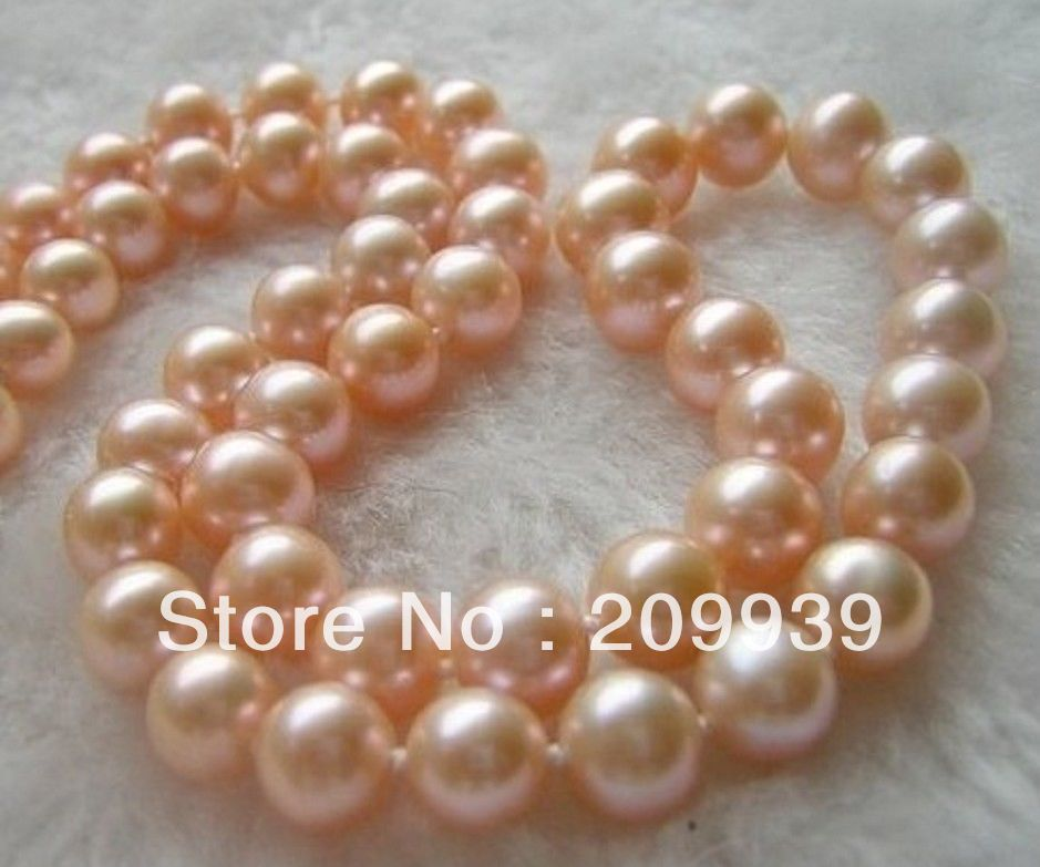 huij 002606 very beautiful natural akoya 11-12 mm Pink pearls Necklace 18 14K<br><br>Aliexpress