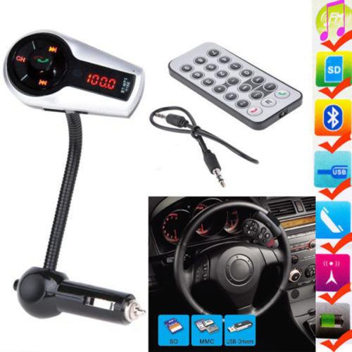 2015 New Model LCD Bluetooth Handsfree Car Kit FM Transmitter MP3 Player With Steering wheel Control+Remote+USB/SD/MMC+Charger(China (Mainland))