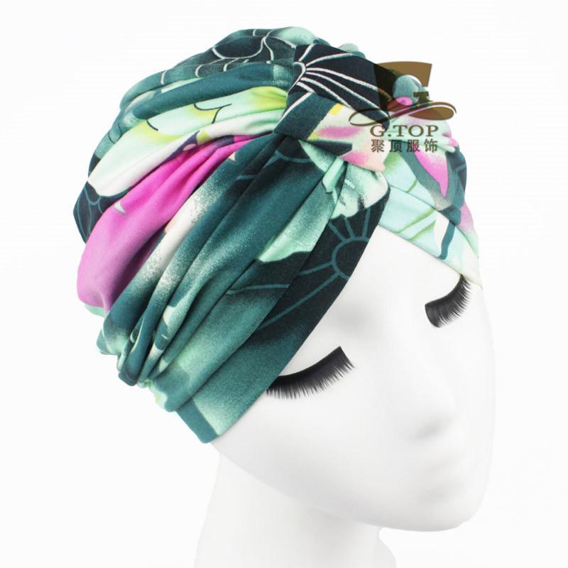 NEW Luxury Divas Green Floral Leaf Print cottonTurban lady fashion head wrap headbands(China (Mainland))