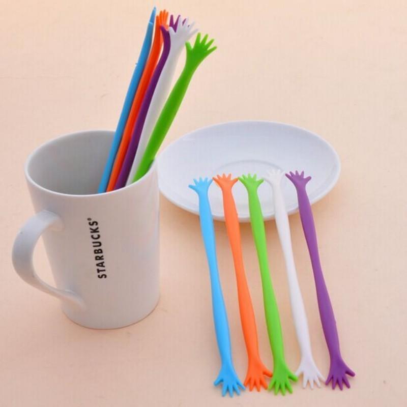 Hot Sale 5PCS Cute Coffee&drinks&Fruit juice Spoon tableware Stir Bar Stick Mixing restaurant bar Kitchen practical tools(China (Mainland))