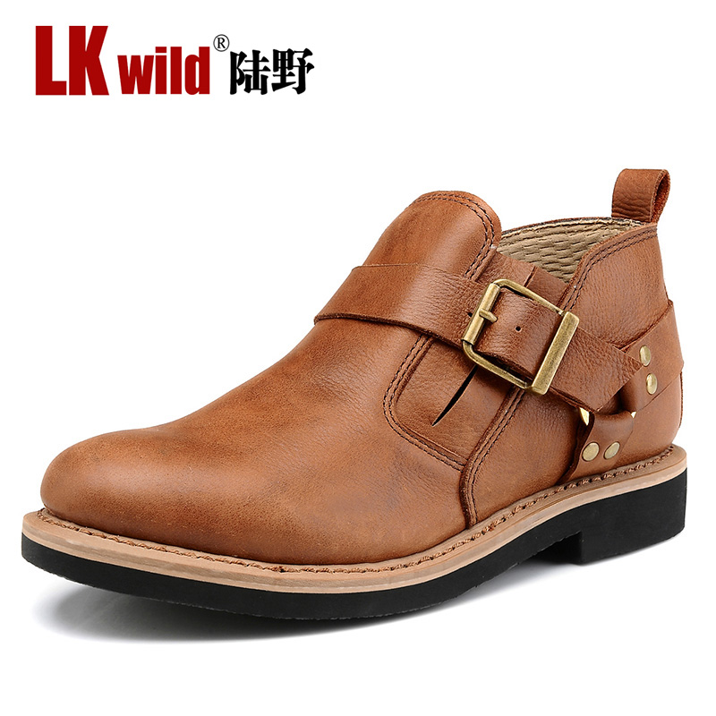Vintage Mens full grain leather Ankle Boots, handmade autumn & winter fashion brown boots male retro casual shoes Lk085 - Redleaf hair products Co., Ltd store