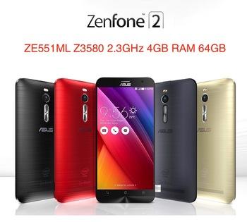 """Оригинальный ASUS Zenfone 2 ZE551ML 4 г сотовых телефонов Intel Z3580 2.3 ГГц 4 ГБ RAM 64 ГБ 5.5 """" 1920 x 1080 андроид 5.0 леденец 13.0MP камера"""