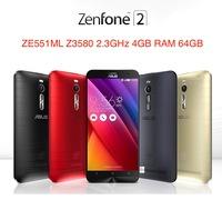 "Original ASUS Zenfone 2 ZE551ML 4G Cell Phones Intel Z3580 2.3GHz 4GB RAM 64GB 5.5"" 1920x1080 Android 5.0 Lollipop 13.0MP Camera"
