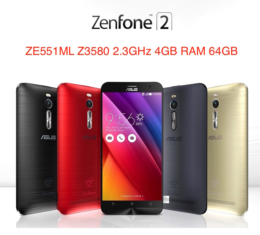 "Original ASUS Zenfone 2 ZE551ML 4G Cell Phones Intel Z3580 2.3GHz 4GB RAM 64GB 5.5"" 1920x1080 Android 5.0 Lollipop 13.0MP Camera(China (Mainland))"