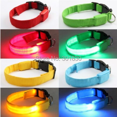 Pets Dog Cat Assorted Size & Color LED Flashing Light-up Glow Safety Nylon Collar L(China (Mainland))