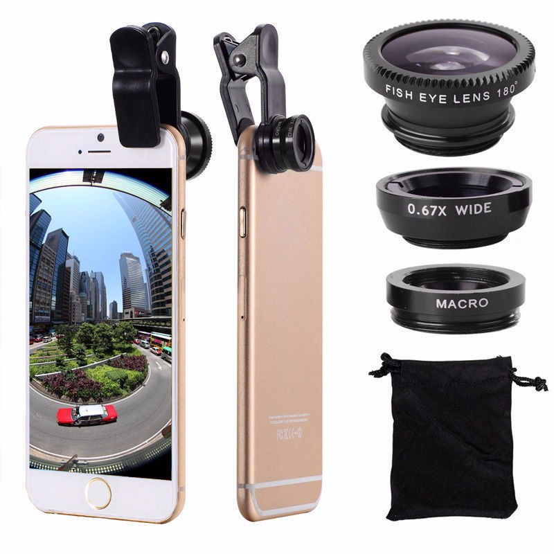 2016 new Mobile Phone Fisheye Lenses 3 in 1 Wide Angle + Macro + Fish Eye Lenses For iPhone 6/6S 6/6S Plus for universal phone(China (Mainland))