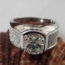 18k Gold Lab Grown 1.2 Carat Moissanite Diamond Ring & 56 Pieces Small Natural Genuine Diamonds Luxury Men Ring Free Shipping(China (Mainland))
