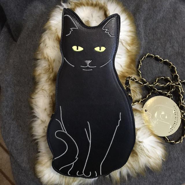 Мода марка персонализировала мода симпатичные черный кот форма цепь сумка женская сумка клатч кошелек