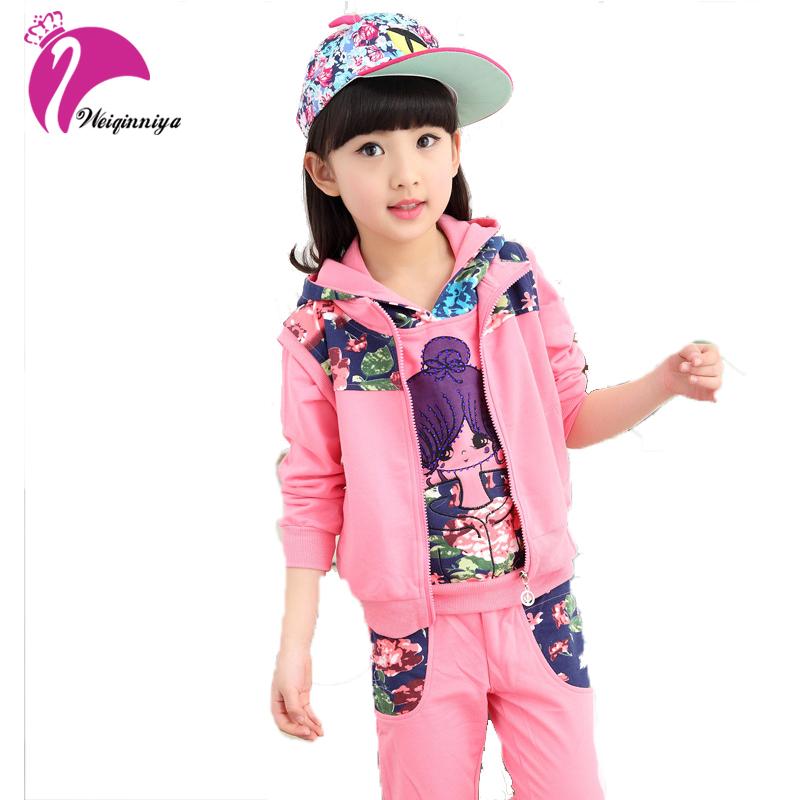 Spring Autumn Girls Clothes Kids Jacket+Pants+Vest 3 Pieces Tracksuit Girls Sport Suit Casual Children Clothing Sets