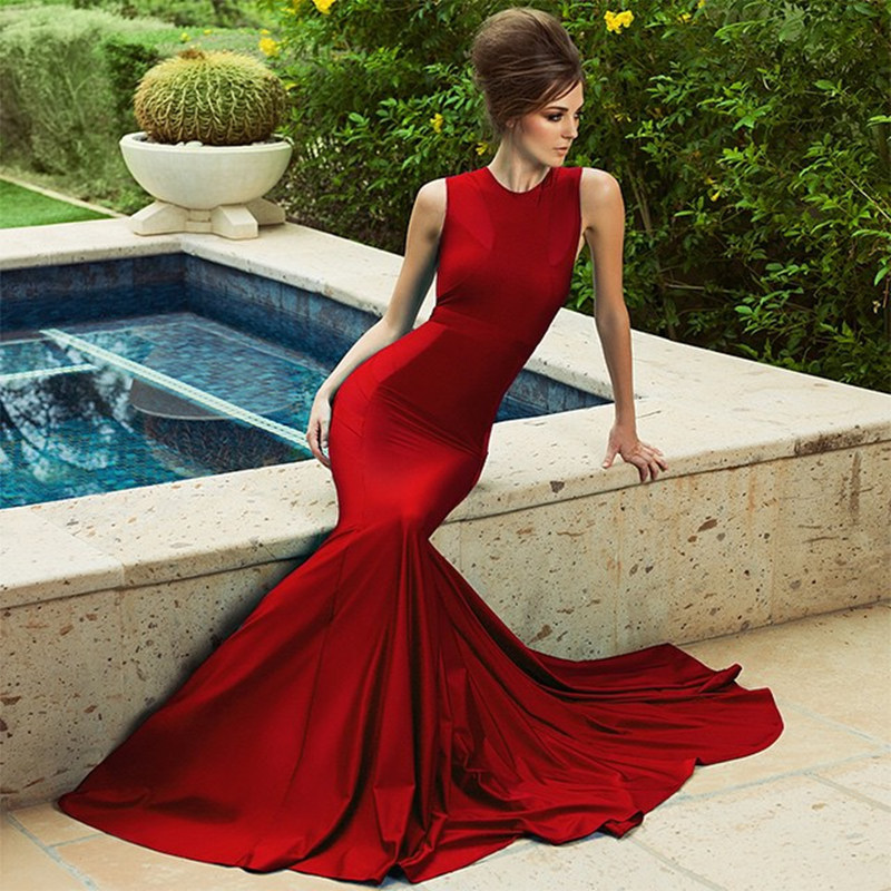 Fashion 2016 Custom Made Red Satin High Celebrity Dresses Simple Cheap Long Train Formal Evening Dresses Women(China (Mainland))