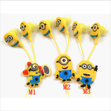 NEW cartoon in-ear wired 3.5mm earphone headphone Despicable Me Minions model headset for MP3 MP4 cell phone