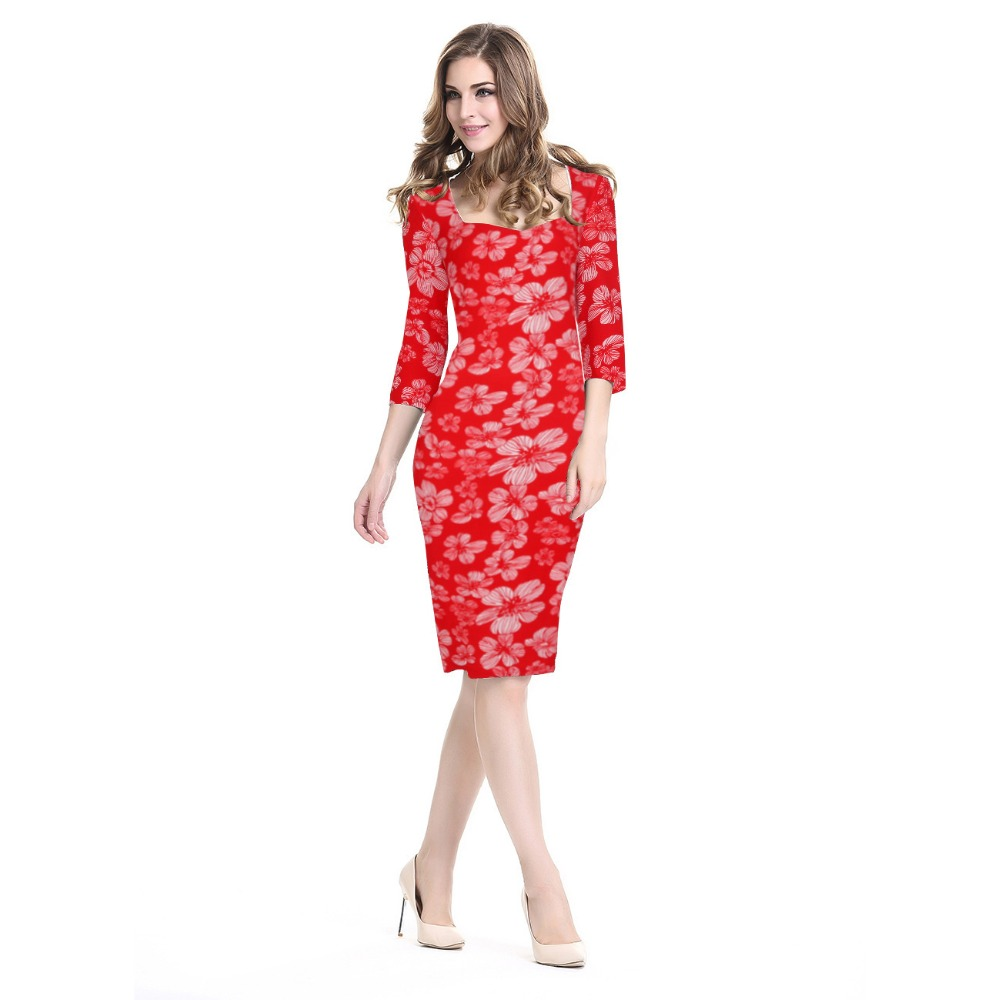 Women Red Floral Print Autumn Dresses 2016 Lady Fashion Black Office 3/4 Sleeve Flower Bodycon Pencil Work Formal Dress Big Size(China (Mainland))