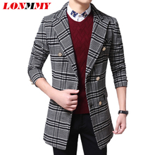 Plaid men casual jacket mens trench coat Double-breasted overcoat Long trench coat men woolen jacket Casual casacos 2016 NEW(China (Mainland))