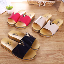 2016 new word slope with sandals shoes summer fashion Women lady PVC slippers