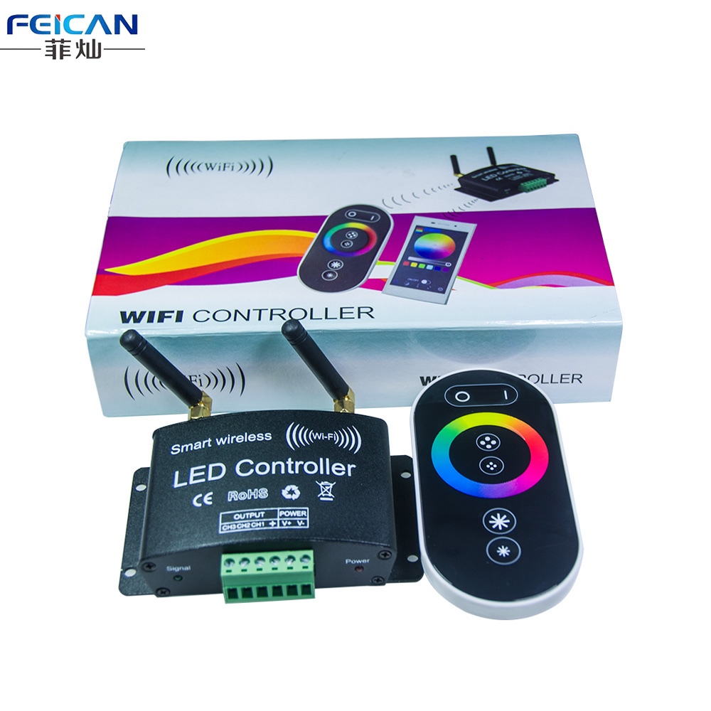 dc12 24v 4a ch rgb wifi led controller rf touch remote control controller by android ios app for. Black Bedroom Furniture Sets. Home Design Ideas