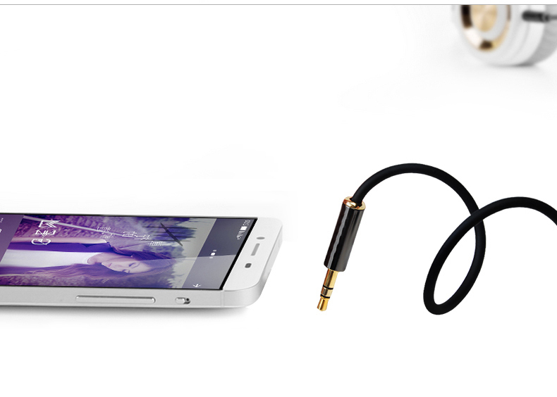 Earphones with braided cable - headphone extension cable gold