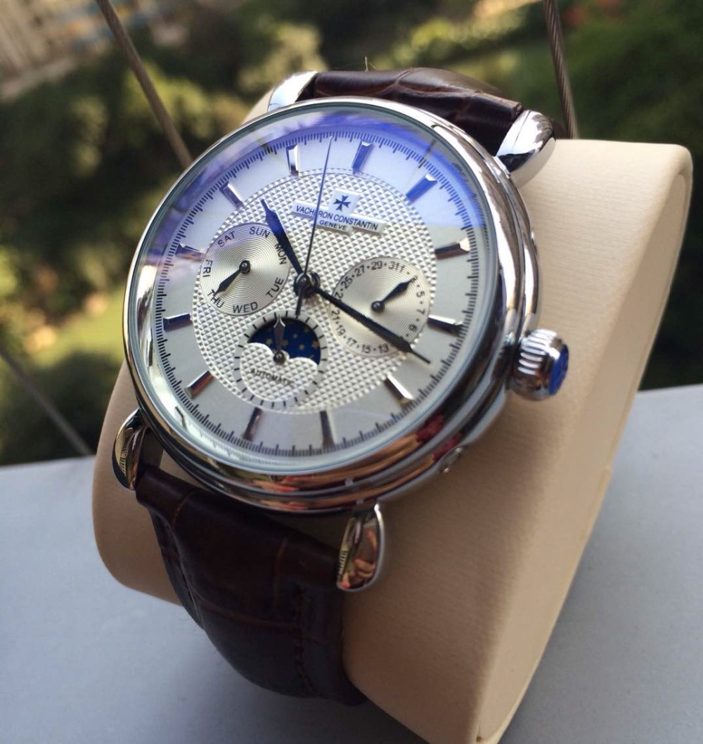 Luxury Brand Leather Fashion Men s Stainless Steel VC Automatic Movement Mechanical Watch mens Self wind