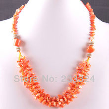 "Free Shipping New without tags 5X8MM Natural Orange Sea Coral Chip Beads Nylon Line Weave Necklace 22"" 1Pcs RE728(China (Mainland))"