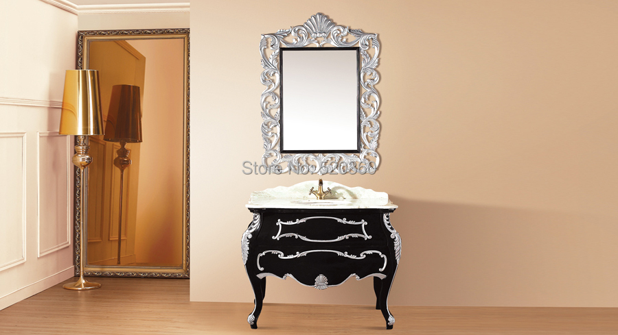 silver oak color jade marble cabinet and mirror bathroom vanities