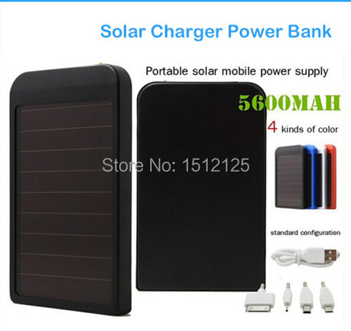 Mobile Backup Power Bank 5600 mah Solar Charger Portable Charger For iPhone 6/6 Plus 4s 5 5S iPad iPod Samsung Nokia Portable(China (Mainland))