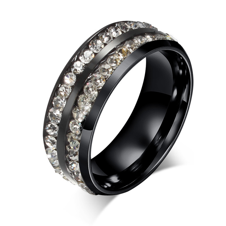 new design black stainless steel eternity engagement wedding band promise rings for him and her. Black Bedroom Furniture Sets. Home Design Ideas