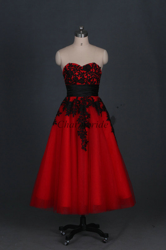 Red tulle prom gowns with black lace applique strapless a for Red tea length wedding dress