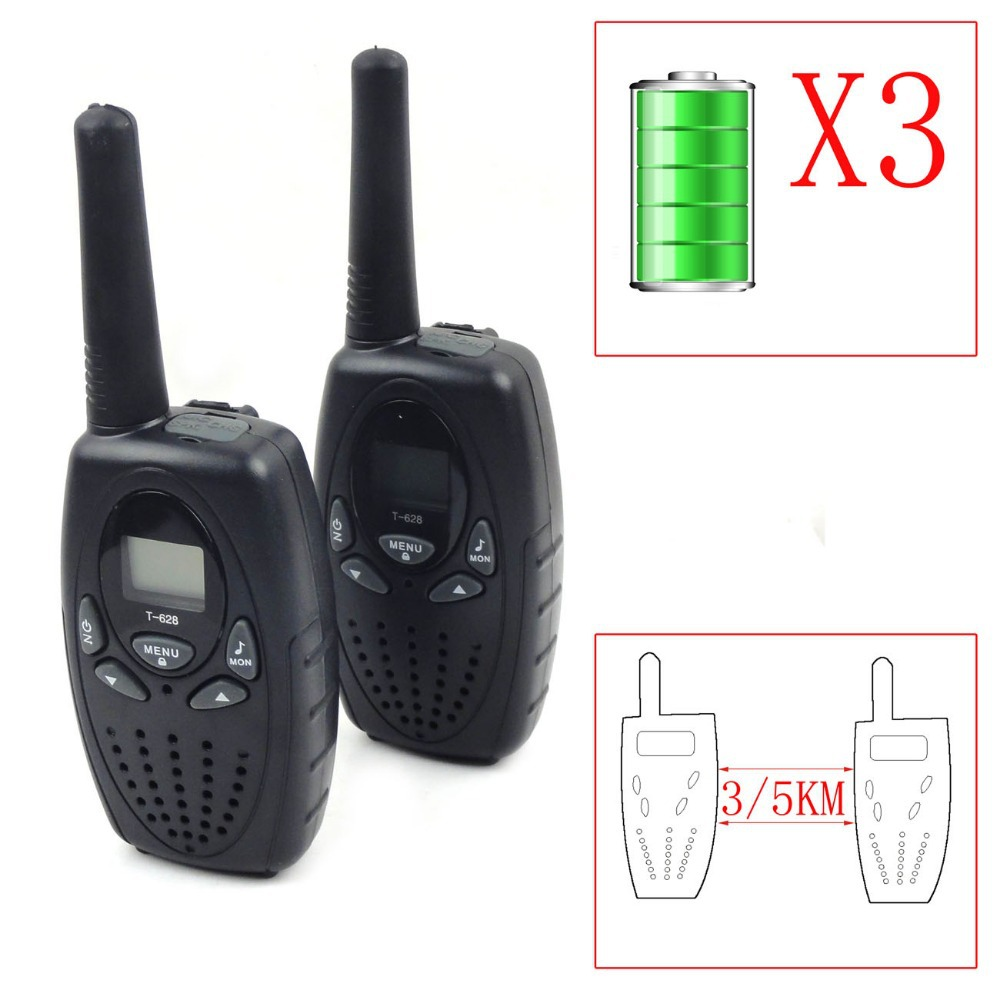 T-628 3/5Km Pair/Twin Big Factory 3xAA Battery Portable Handheld LCD Display Wireless 2-Way Radio Walkie Talkie(Hong Kong)