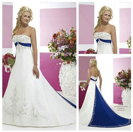 Strapless embroedery long train with beading royal blue for Strapless wedding dresses with long trains