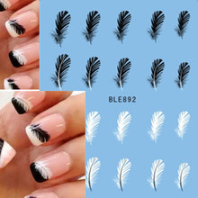 1pcs Beautiful Black White Feather Nail Art Decal Stickers Fashion Tips Decoration New For Women Girl Watermark Nail Art BLE892(China (Mainland))