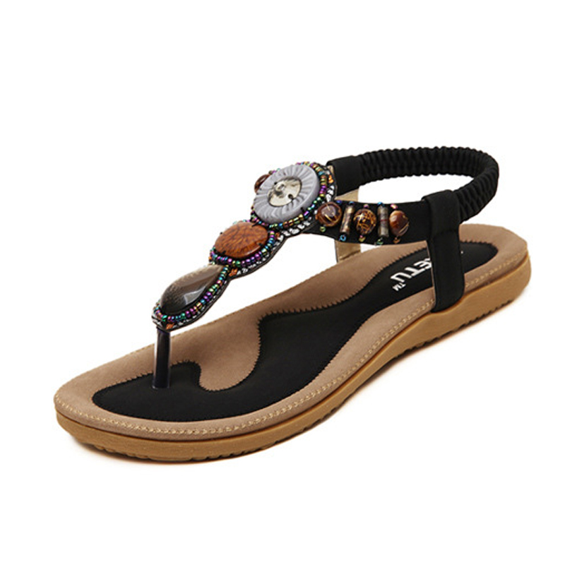 2016 Casual Summer Shoes Bohemian Sandals Slip-on Gemstone Beaded Flat Women Ethnic Shoe Ladie Sandals<br><br>Aliexpress