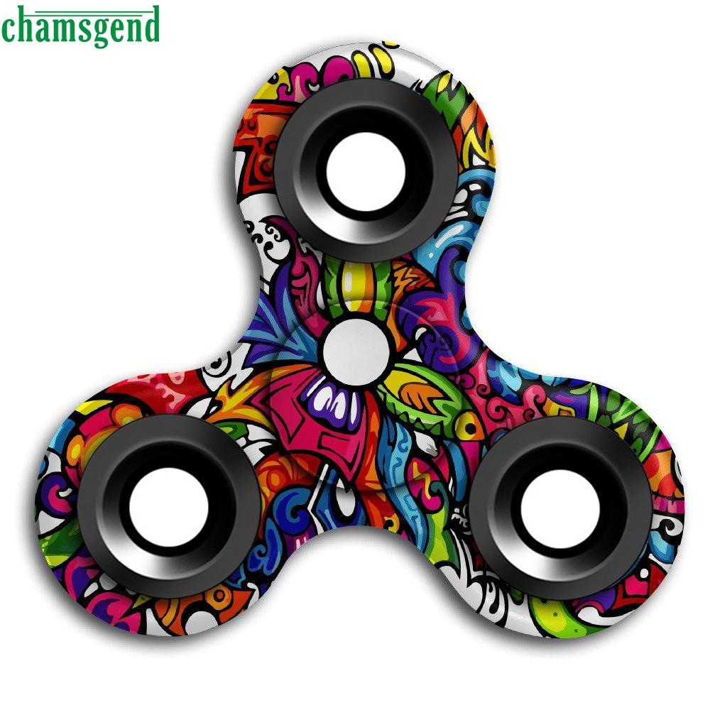 chamsgend juegos del juguete divertido graffiti d fidget mano dedo spinner edc calmante para el estrs