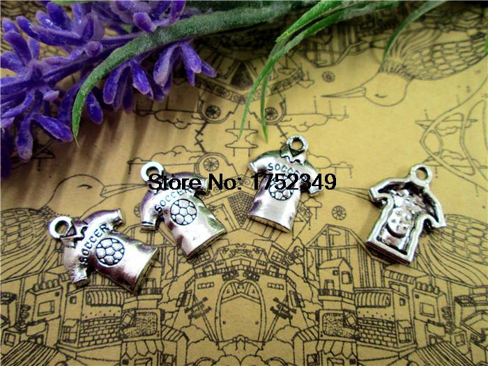 15pcs--Soccer Jersey Charms,3D Antique Silver Soccer Shirt Pendants,Soccer Wear Charms,18x15mm(China (Mainland))
