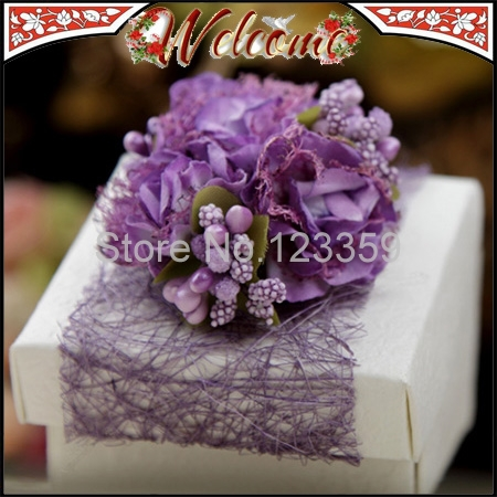 Attractive Purple European Style Wedding box Candy Box Mesh Flower Favors Holder Gift 3 - John Qin's store