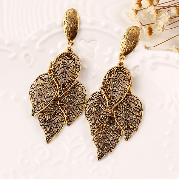 Fashion jewelry alloy leaf earrings temperament high-grade hypoallergenic double leaf earrings for women(China (Mainland))