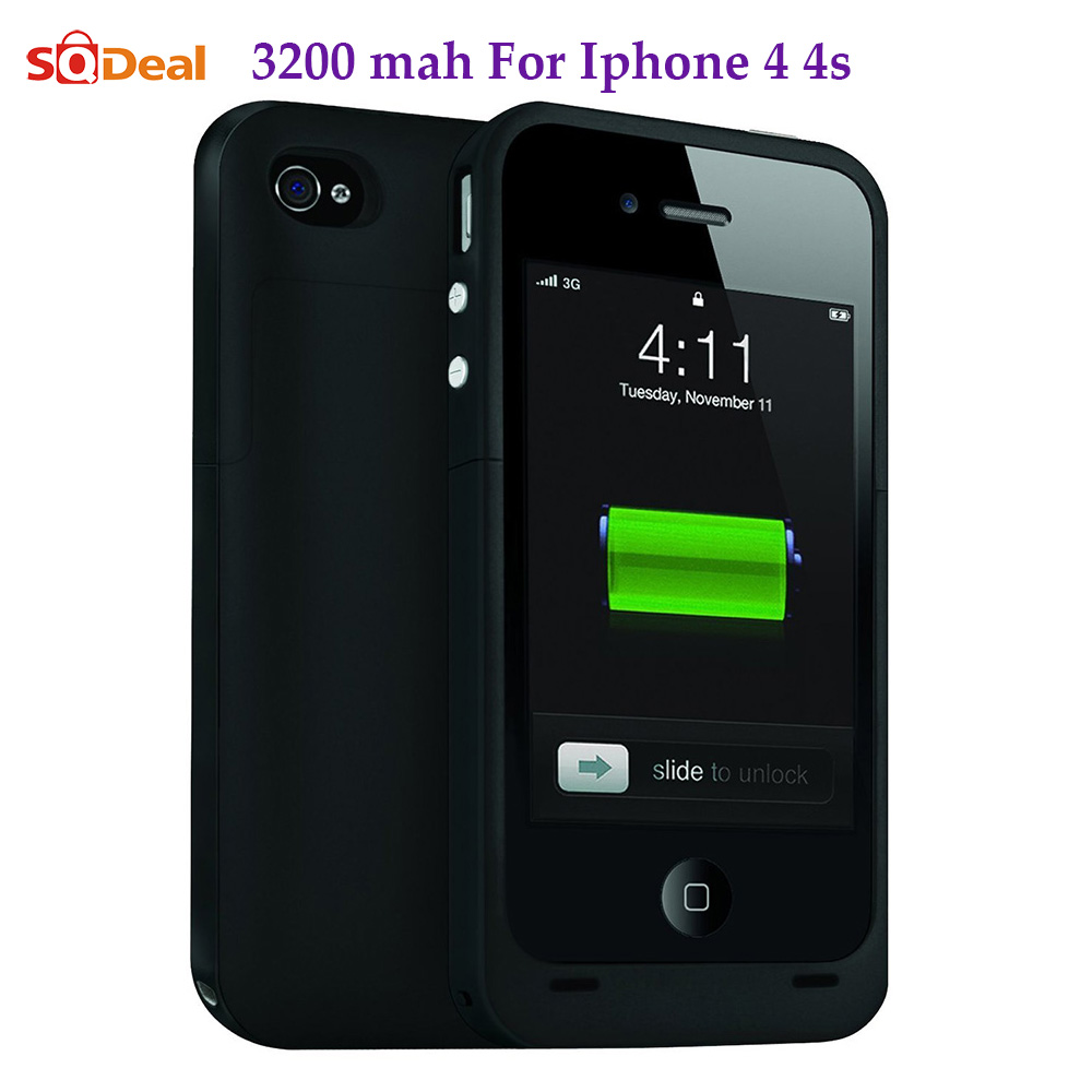 3200mah For iphone 4s Case Portable Backup External Battery Charger Case Power Bank Powerbank Cover Case for iPhone 4 4S 4G(China (Mainland))